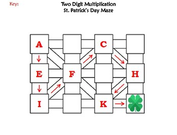 Two Digit Multiplication Activity: St. Patrick's Day Math Maze