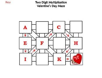 Two Digit Multiplication Activity: Valentine's Day Math Maze