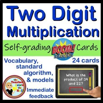 BOOM Two Digit Multiplication - BOOM Cards! (24 Digital Task Cards)