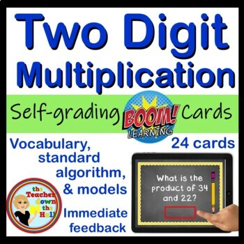 BOOM Two Digit Multiplication - BOOM Cards! (24  Self-checking Cards)