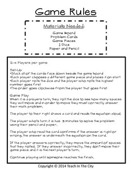Two Digit Multiplication - Board Game - Center Activity