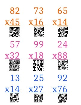 Two-Digit Multiplication Practice --- QR Scanning!