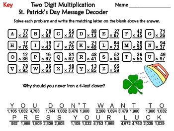 Two Digit Multiplication St. Patrick's Day Math Activity: Message Decoder