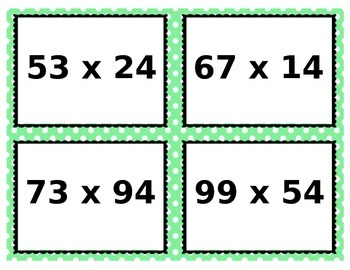 Two Digit Multiplication Task Cards