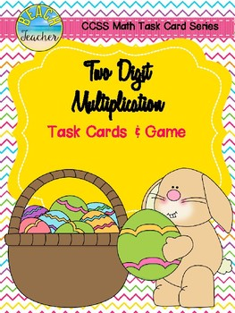 Two-Digit Multiplication Task Cards & Game (Easter Themed)