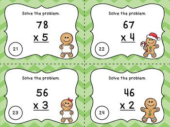 Two Digit Multiplication Task Cards - Gingerbread Theme - 36 Task Cards