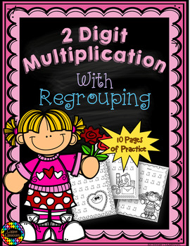 Two Digit Multiplication With Regrouping, Valentine's Day Theme