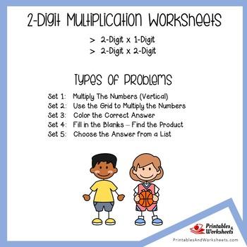 2x1 Multiplication, 2x2 Digit Multiplication Worksheets