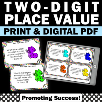 Two Digit Place Value Task Cards, 1st Grade Math Review, SCOOT Games