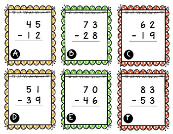 Two Digit St. Patrick's Day Subtraction with Regrouping
