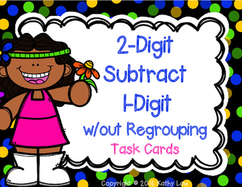 Two-Digit Subtract One-Digit w/out Regrouping Task Cards