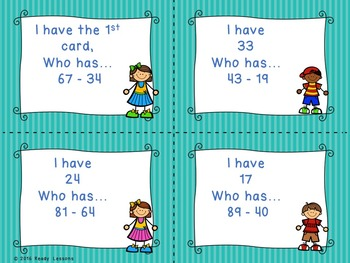 I Have Who Has Two Digit Subtraction Game 2.NBT.5
