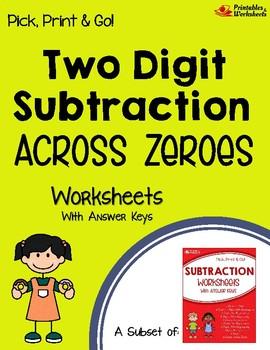 Subtracting 2 Digit Numbers Across Zeros Subtraction Practice Sheets