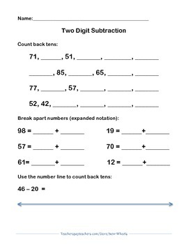 Two Digit Subtraction Assessment on the Open Number Line!