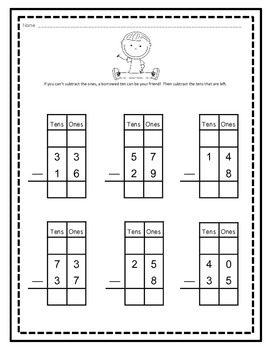 Two-Digit Subtraction Beginner's Packet (With and Without Regrouping)