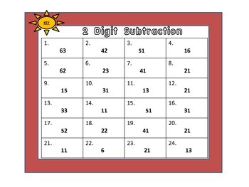 Two Digit Subtraction Cards