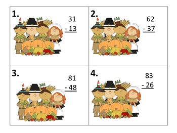 Two Digit Subtraction Centers--with & without regrouping--Thanksgiving Graphics