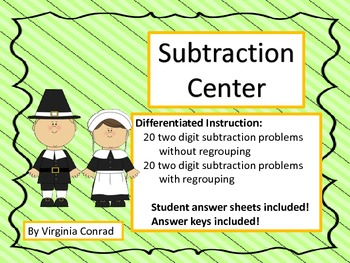 Two Digit Subtraction Centers--with & without regrouping--