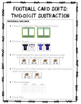 Two Digit Subtraction:  Four Football-Themed Card Sorts