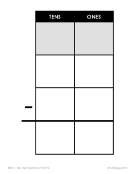 Two Digit Subtraction Frame