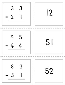 Two-Digit Subtraction Matching Game (Without Regrouping)