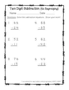 Two Digit Subtraction - NO REGROUPING