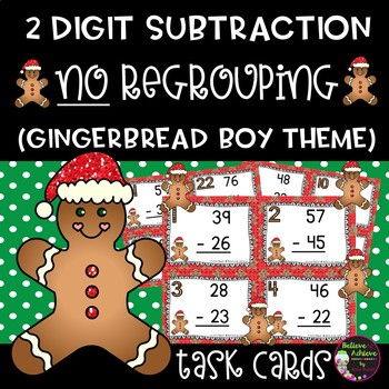 Two Digit Subtraction NO regrouping (Gingerbread boy theme)
