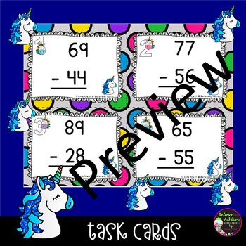 2 Digit Subtraction NO regrouping (Unicorn theme) Task Cards