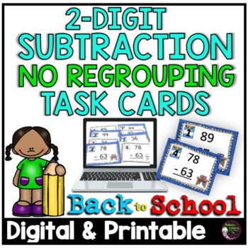 Two-Digit Subtraction NO regrouping task cards (Back to School  theme)