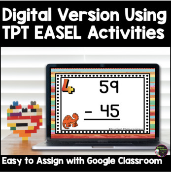 Two-Digit Subtraction NO regrouping task cards (Dinosaur theme)