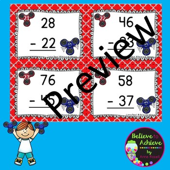 Two-Digit Subtraction NO regrouping task cards (Fidget Spinner theme)