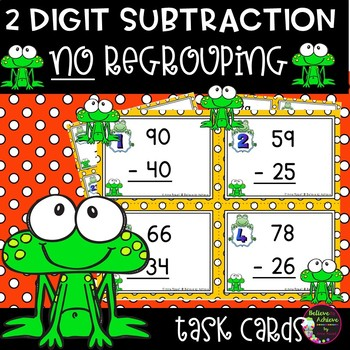 Two-Digit Subtraction NO regrouping task cards (Frog theme)