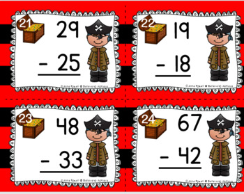Two-Digit Subtraction NO regrouping task cards (Pirate theme)