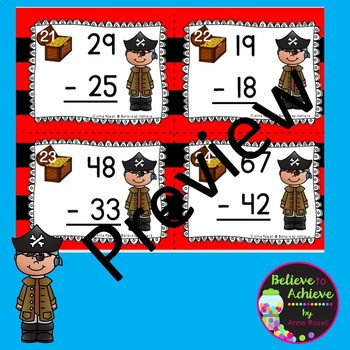 2-Digit Subtraction NO regrouping task cards (Pirate theme)