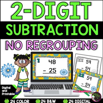 Two-Digit Subtraction NO regrouping task cards (Spring theme)