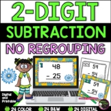 2-Digit Subtraction NO regrouping task cards (Spring theme)