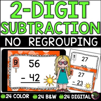 Two-Digit Subtraction NO regrouping task cards (Summer theme)