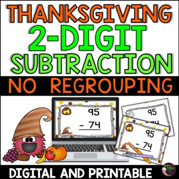 Two-Digit Subtraction NO regrouping task cards (Thanksgiving  theme)