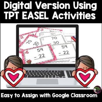 Two-Digit Subtraction NO regrouping task cards (Valentine's theme)