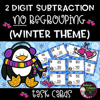 Two-Digit Subtraction NO regrouping task cards (Winter  theme)