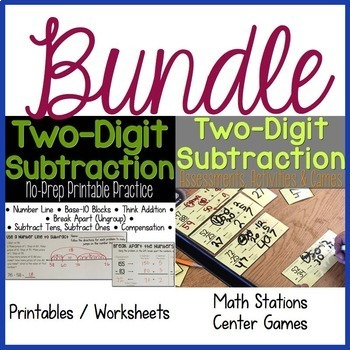 Two-Digit Subtraction No-Prep Practice & Math Stations BUNDLE