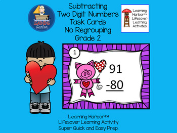 Two Digit Subtraction No Regrouping St. Valentine's Day Pig