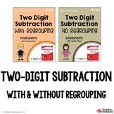2 Digit Subtraction No Regrouping Worksheet, With Borrowing Bundle