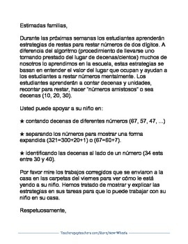 Two-Digit Subtraction Parent Letter in English and Spanish