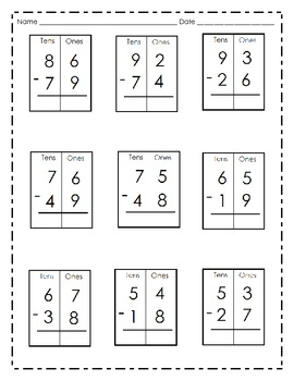 Two-Digit Subtraction Practice