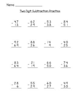 Two Digit Subtraction Practice Page With and Without Regrouping (Mixed)