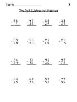 Two Digit Subtraction Practice Pages - With and Without Regrouping (Mixed)