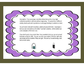 Two Digit Subtraction Problems With & Without Regrouping-Lock Box Escape Room