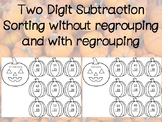 Two Digit Subtraction Regroup or Not Regrouping Pumpkin Sort