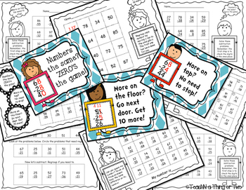 Two-Digit Subtraction Regrouping Posters & Student Practice Pages